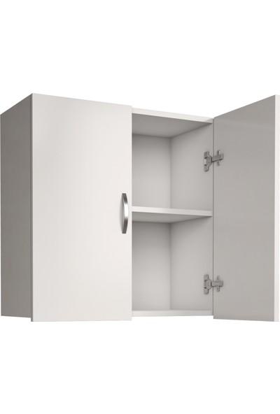 Banos Cu2 Çok Amaçlı Çamaşır Makinesi Üst Banyo Dolabı - Beyaz