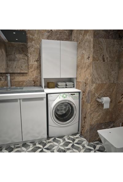 Banos Cd8 Çok Amaçlı Banyo Üst Dolaplı Çamaşır Makinesi Dolabı Takımı - Beyaz