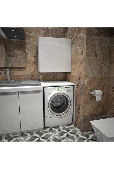 Banos Cd5 Çok Amaçlı Banyo Üst Dolaplı Çamaşır Makinesi Dolabı Takımı - Beyaz