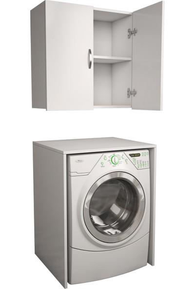 Banos Cd6 Çok Amaçlı Banyo Üst Dolaplı Çamaşır Makinesi Dolabı Takımı - Beyaz