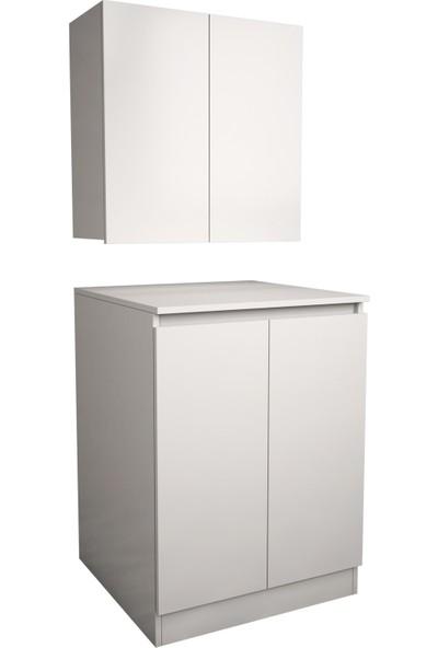 Banos Cd1 Çok Amaçlı Banyo Üst Dolaplı Çamaşır Makinesi Dolabı Takımı - Beyaz