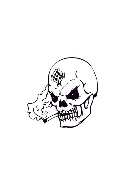 Başaran Sticker skull head Kafa Tası3 Araba Arma Sticker