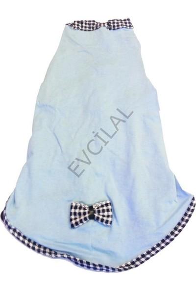 Pets Köpek Penye Sırtı Fiyonklu Kıyafet Mavi No:4