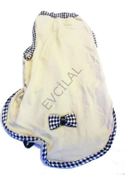 Pets Köpek Penye Sırtı Fiyonklu Kıyafet Krem No:5
