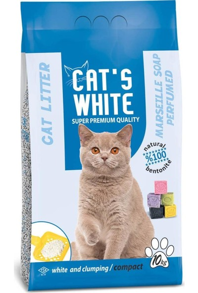 Cat'S White Marsilya Sabun Kokulu Topaklaşan Doğal Bentonit Kedi Kumu 12 Lt 10 Kg