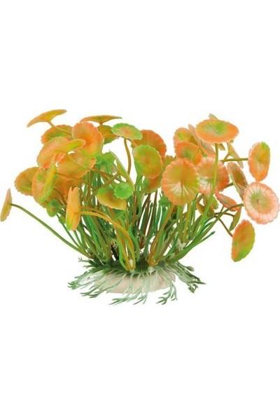 Aquatic-Plants Turuncu-Yeşil Akvaryum Plastik Bitki 11 Cm