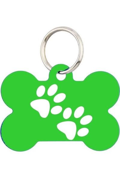 Imarc Limon Yeşili Çift Pati Baskılı Kemik Köpek İsimliği