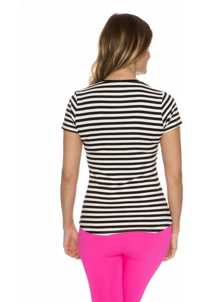 Fit21 V Yaka Kısa Kollu T-Shirt Çizgili