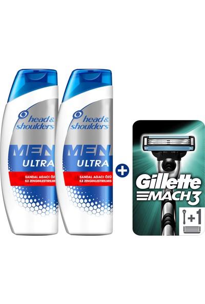 Head & Shoulders Men Ultra Erkeklere Özel Şampuan Old Spice 2 x 400 ml + Gillette Mach 3 Tıraş Makinesi