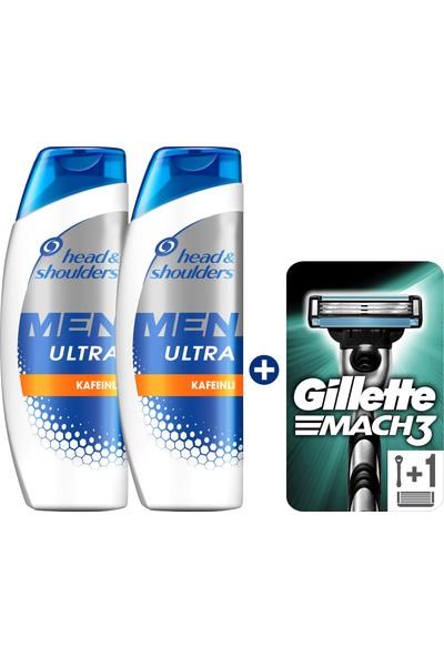 Head & Shoulders Men Ultra Erkeklere Özel Şampuan Saç Dökülmelerine Karşı 2 x 400 ml + Gillette Mach 3 Tıraş Makinesi