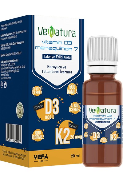 VeNatura Vitamin D3 ve K2 20ml Damla