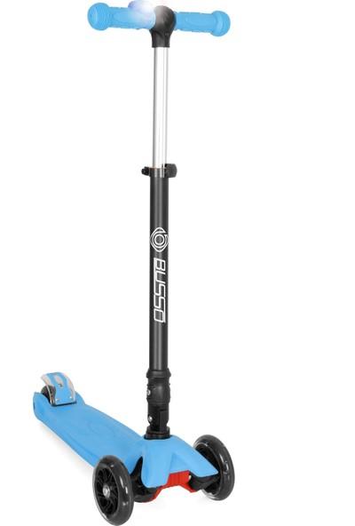 Busso S918A Katlanabilir Led Işıklı Mini Scooter - Mavi