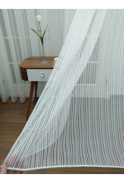 Caserta Home AR01811 Armürlü Pilesiz Dalga Çizgili Düz Tül Perde - 75x150 cm