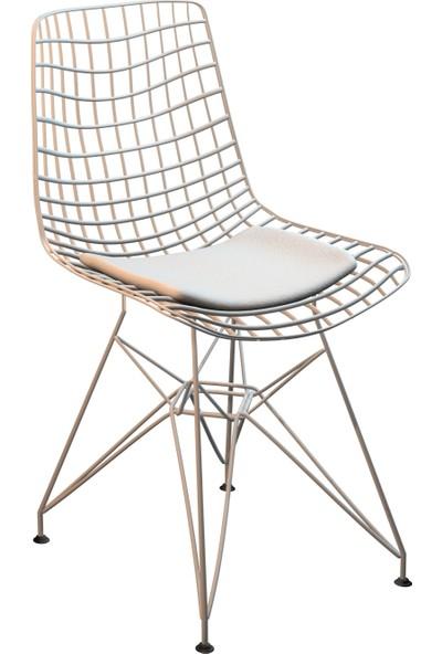 Kenzlife kafes tel sandalyesi tekli (1 li) mazlum beyaz ofis cafe bahçe mutfak