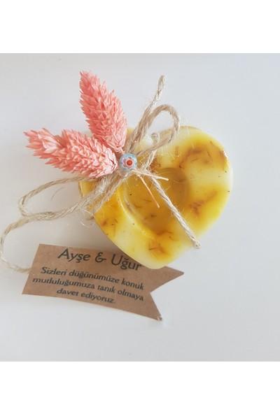 Kariang Aynı Sefa Çiçekli Kalp Şeklinde Doğal Sabun Nikah Nişan Kına Hediyesinikah Şekeri 20 Adet Kutusuz