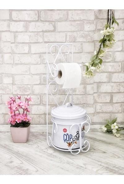 Shaddy Goods Tuvalet Kağıdı Askısı ve Çöp Kovası Seti Beyaz