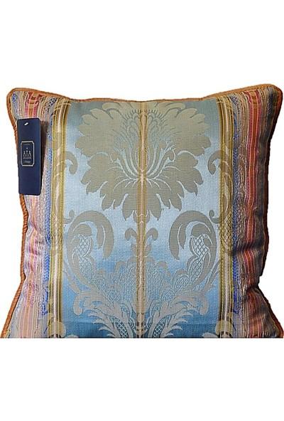 Ata Exclusive Fabrics Maya Serisi İthal Çizgili Saten Dekoratif Kırlent