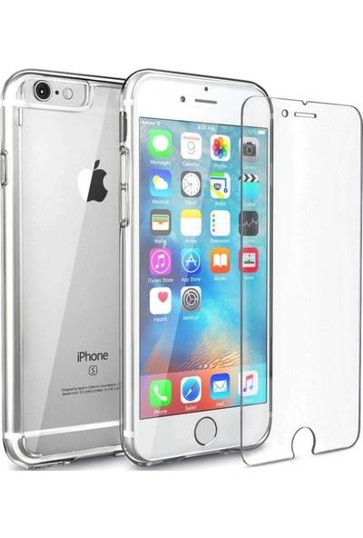 Notebookuzman Apple iPhone 6 / 6S Şeffaf Silikon Kılıf + Cam Ekran Koruyucu