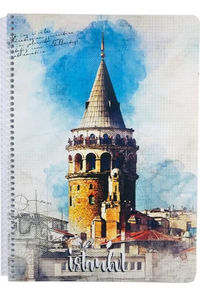 Keskin İstanbul Galata Kulesi A4 Çizgili Defter - 80 Yaprak - Keskin Color