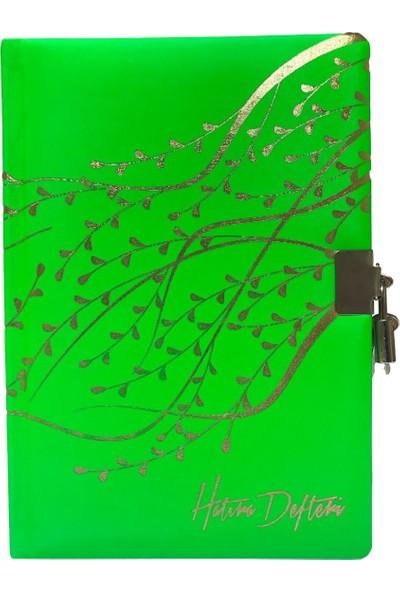 Keskin Color Termo Deri Yeşil Kilitli Hatıra Defteri - 120 Yaprak