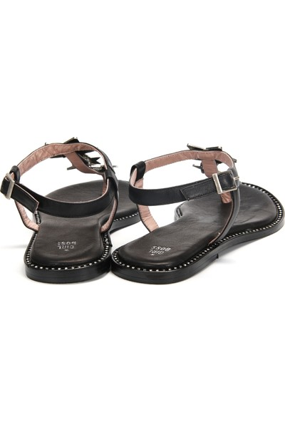 Girl Boss New York Hawai Siyah Deri Sandalet 1016-3