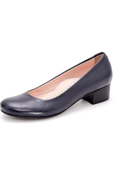 Girl Boss New York Luna Lacivert Comfort Deri Hostes Ayakkabısı C4016-P-4