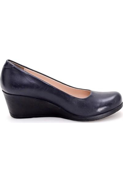 Girl Boss New York Rose Lacivert Comfort Dolgu Topuk Deri Hostes Ayakkabısı C4012-P-1