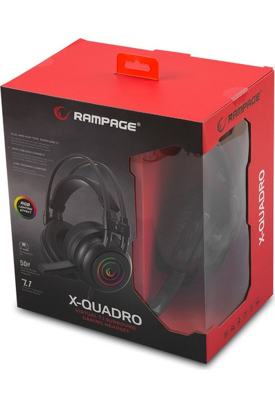 Rampage Rm-K2 X-Quadro Siyah USB 7.1 Version RGB Işık Efektli Oyuncu Mikrofonlu Kulaklık