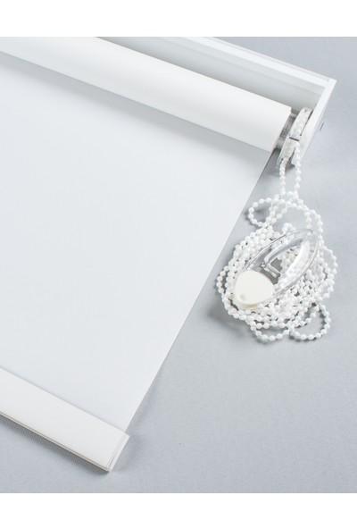 Beyaz Polyester Düz Stor Perde Etek Dilim Dahil