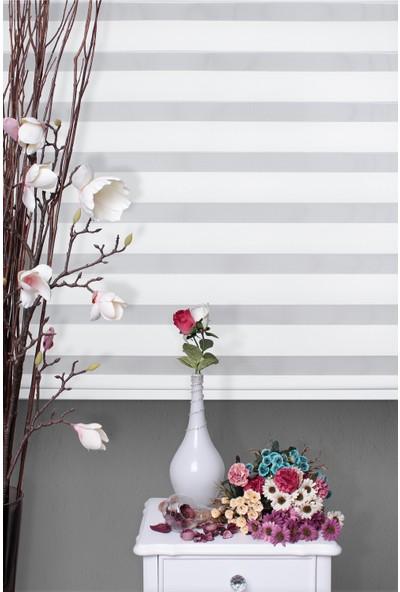 Zebra Perde Beyaz Düz Polyester Etek Dilim Dahil