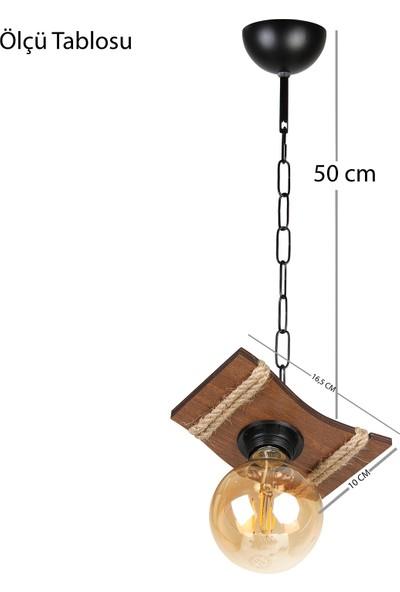 Morvizyon Ahşap Avize Yeni Tasarım Tekli Aydınlatma Ahşap Zincir Halatlı Avize - M220 Kahve