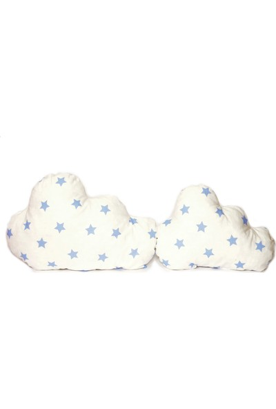 Sff Moda Montessori Yan Koruma Seti ve Pike Takımı Dekoratif Bulut Yastıklar Mavi Yıldız Desen