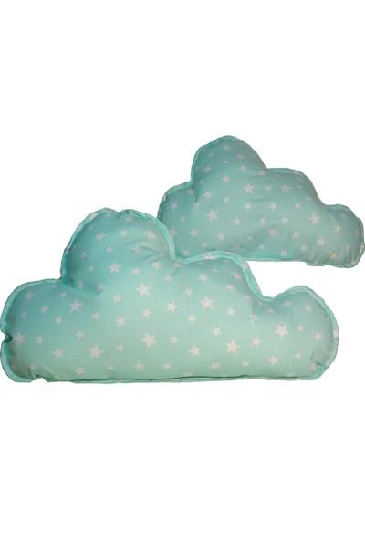 Sff Moda Montessori Yan Koruma Seti ve Pike Takımı Dekoratif Bulut Yastıklar Yeşil Yıldız Desen