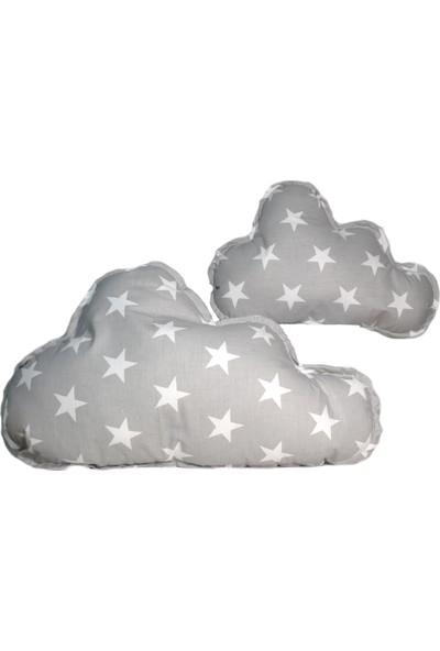 Sff Moda Montessori Yan Koruma Seti ve Pike Takımı Bulut Yastıklar Gri Yıldız Desen