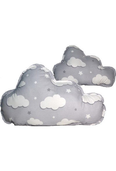 Sff Moda Montessori Yan Koruma Seti ve Pike Takımı Bulut Yastıklar Gri Bulut Desen