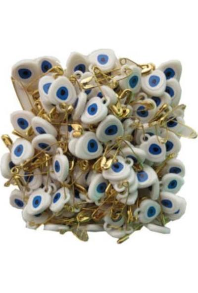 Plastik Nazar Boncuğu İğneli̇ 100lü Beyaz