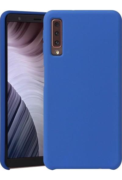 Melikzade Samsung Galaxy A7 2018 Mat İnce Silikon Kılıf Mavi