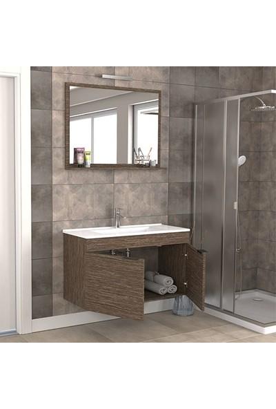 Biani Fix Arya 100 cm Banyo Dolabı Renk Aybe Kahve