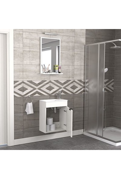 Biani Fix Arya 50 cm Banyo Dolabı Renk Mat Beyaz