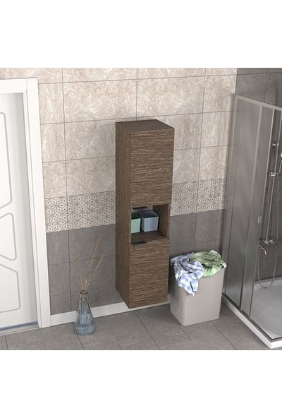 Biani Fix Arya ve Loft Uyumlu Banyo Boy Dolabı Renk Aybe Kahve