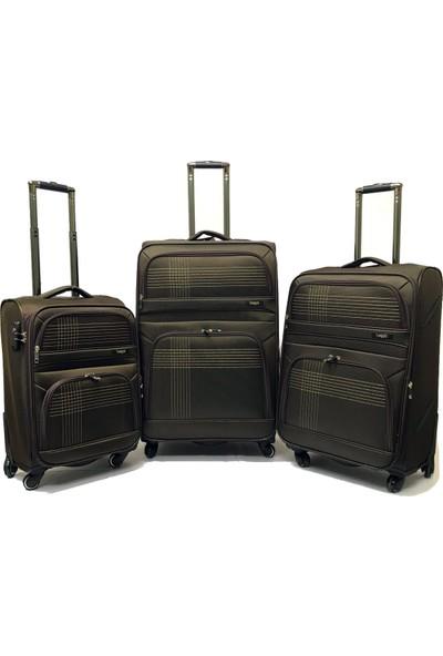 Baggaj Lux Kumaş Valiz 3 Lü Set Kabin-Orta-Büyük