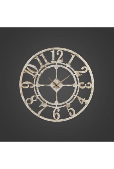Muyi̇ka Yiğit Metal Beyaz Eskitme Duvar Saati 50X50CM