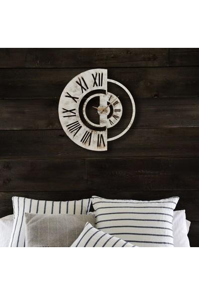 Muyi̇ka Yaro Metal Beyaz Eskitme Duvar Saati 50X50CM