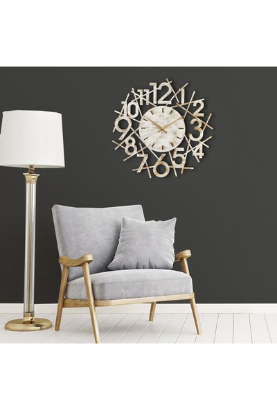 Muyi̇ka Karde Metal Beyaz Eskitme Duvar Saati 50X50CM