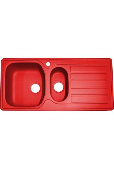 Sellin Kaplama Renkli Metal Mutfak Evyesi 1.5 Gözlü 48 x 100 cm Kırmızı Mat Damlalık Sağ