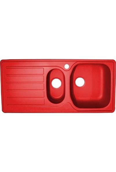 Sellin Kaplama Renkli Metal Mutfak Evyesi 1.5 Gözlü 48 x 100 cm Kırmızı Mat Damlalık Sol