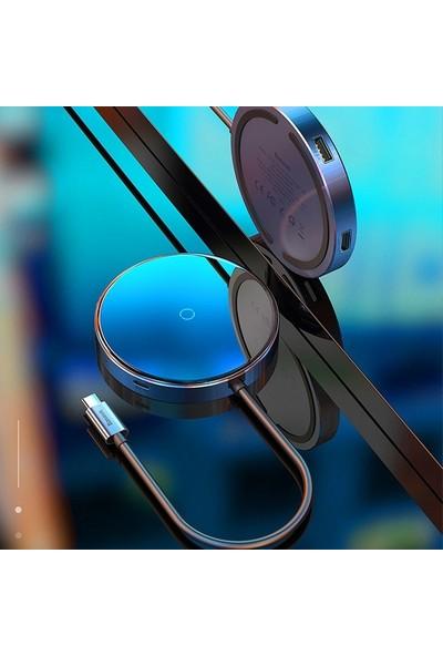 Baseus Circular Mirror Wireless Kablosuz Şarj + USB 3.0 Hub