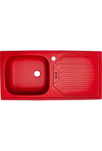 Sellin Kaplama Renkli Metal Mutfak Evyesi 1 Gözlü 43.5 x 86 cm Kırmızı Mat Damlalık Sağ
