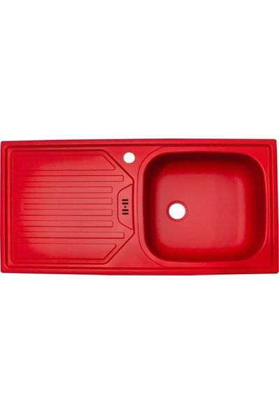 Sellin Kaplama Renkli Metal Mutfak Evyesi 1 Gözlü 43.5 x 86 cm Kırmızı Mat Damlalık Sol