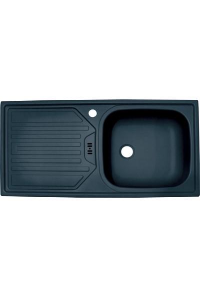 Sellin Kaplama Renkli Metal Mutfak Evyesi 1 Gözlü 43.5 x 86 cm Siyah Mat Damlalık Sol